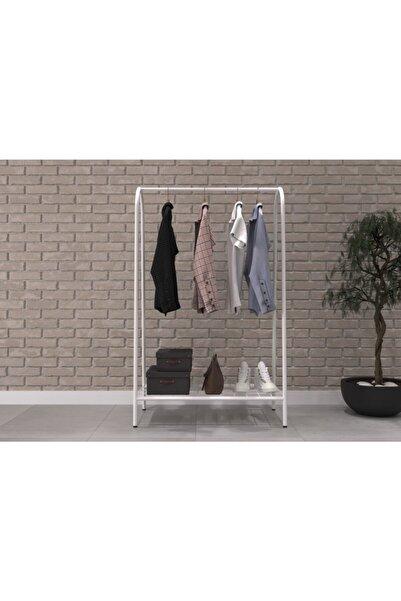 Uyan Ev Ürünleri Dekoratif Metal Ayaklı Raflı Elbise Askılığı Portmanto Ve Raflı Konfeksiyon Askılığı