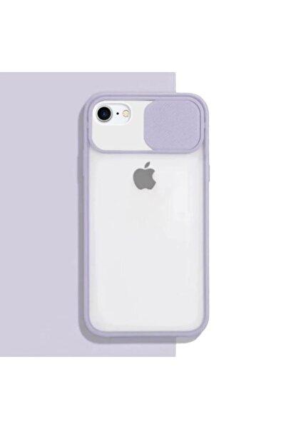 E TicaShop Iphone 6 Plus / 6s Plus Uyumlu Kılıf (logosuz) Sürgülü Kamera Korumalı Buzlu Mat Silikon Kapak Lila