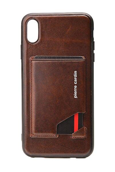 Pierre Cardin Iphone Xsmax Kahve Stand, Kart, Yan Silikon Koruma Deri Kılıf