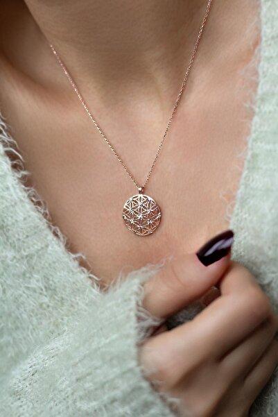 BY BARUN SİLVER Yaşam Çiçeği Rose Gümüş Kolye
