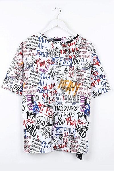 Sekizbiraltı Yazı Baskılı Oversize Beyaz Unisex Tshirt