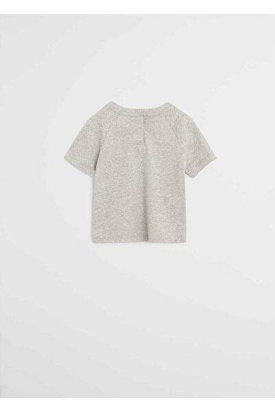 MANGO Baby Erkek Bebek Gri Çizgili Şort Pijama Takımı