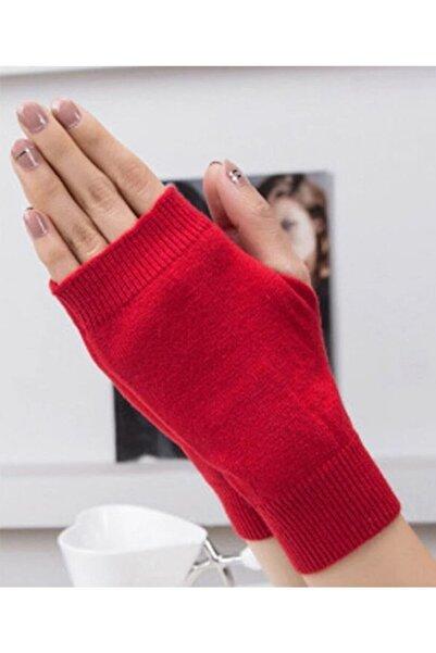 Nishstyle Kadın Aksesuar Kırmızı Renk Başparmaktan Geçmeli Koton Kumaş Parmaksız Mini Eldiven