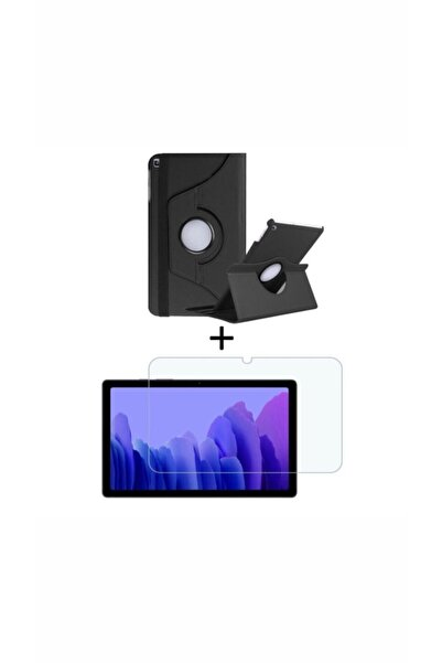 Samsung Tab A7 10.4 T500 Kılıf 360 Dönerli Stand Deri Tam Koruma+a Kalite Nano Cam Ekran Koruyucu
