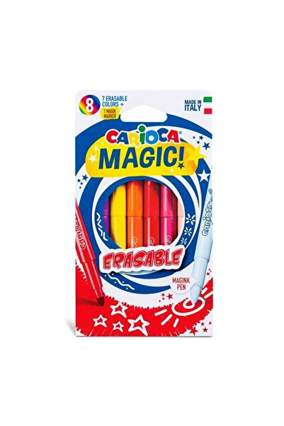 CARIOCA Silinebilen Sihirli Keçeli Boya Kalemi (7 Renk+1 Düzeltici Beyaz Kalem) Mutluminik