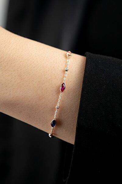 Mode Silver Renkli Markiz Rose Gold Gümüş Bileklik