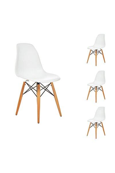 Seduna Beyaz Eames Sandalye Natural Ahşap Ayaklı | 4 Adet