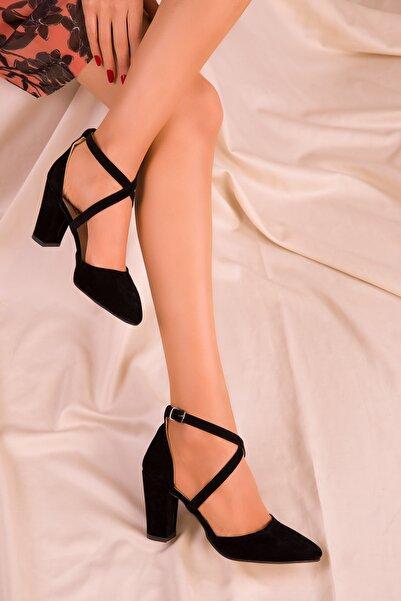 SOHO Siyah Süet Kadın Klasik Topuklu Ayakkabı 14391