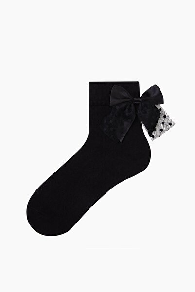 Bross Kadın Siyah Kurdele Aksesuarlı Çorap