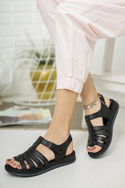 Deripabuc Hakiki Deri Siyah Kadın Deri Sandalet Dp05-0246