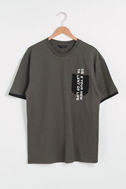 LC Waikiki Erkek Haki  T-Shirt