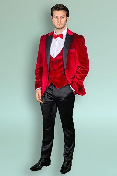 MEHMET EMİN TEKE Men's Wear Slimfit Damatlık 3'lü Takım Kırmızı
