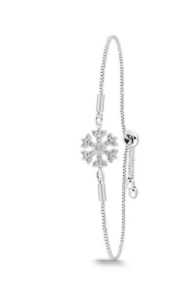 Duke Nickle Kadın Gümüş Zirkon Taşlı Asansörlü Kar Tanesi Bileklik Ssdbbl3037