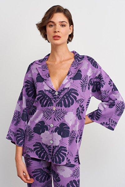 JOIN US Kadın Mor Desenli Triko Ceket