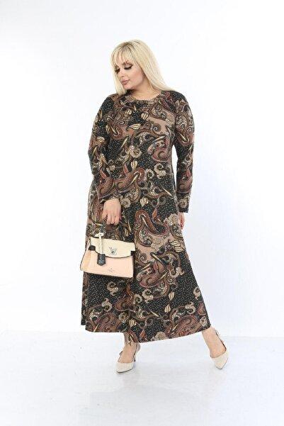 Şirin Butik Kadın Kahverengi Büyük Beden Yaka Pervazlı Elbise