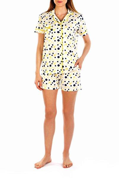 Nicoletta Sarı Kadın Şortlu Pijama Takımı Kısa Kollu Düğmeli Cepli Puantiyeli Pamuk