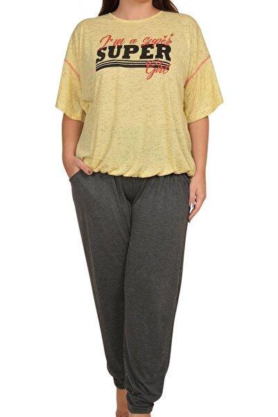 Nicoletta Sarı Kadın Pijama Takımı Kısa Kollu Büyük Beden