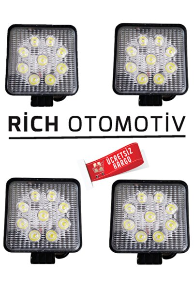 Rich 4'lü Kare Off Road Çalışma Lambası Tepe Lambası 9led 27w