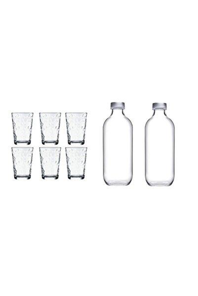 Paşabahçe 6 adet Çiçekli Su Bardağı + 2 adet 500 Cc Su Şişesi 8 Parça Su Seti