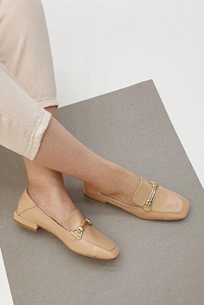 Marjin Lofen Kadın Günlük Loafer Ayakkabı Bej Rugan