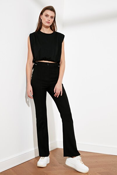 TRENDYOLMİLLA Siyah Yüksek Bel D Tokalı Pantolon TWOSS21PL0214