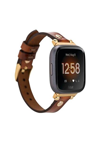Bouletta Fitbit Versa2-3 Deri Kordon Ferro Gold Troklu Rst2ef Taba