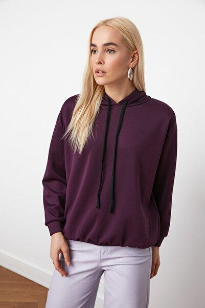 TRENDYOLMİLLA Mürdüm Oversize Kapişonlu Loose Örme Sweatshirt TWOAW21SW0168