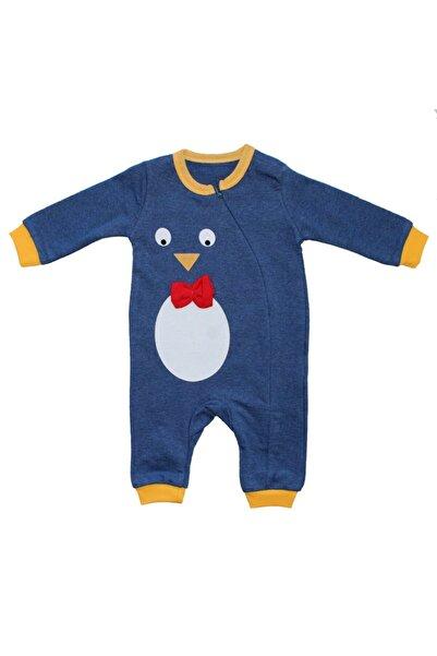 bebegen Erkek Bebek Mavi Penguen Baskılı Tulum
