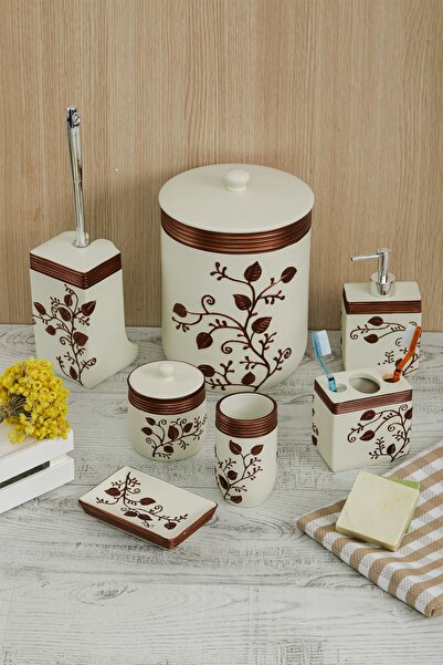 Evlen Home Mary Banyo Takımı 7 Parça Kahve