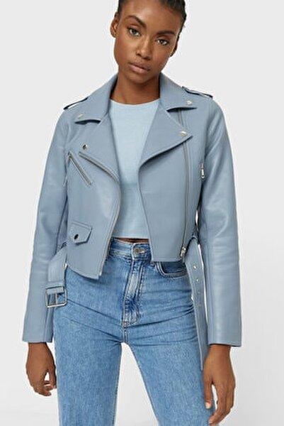 Kadın Açık Mavi Kemerli Suni Deri Basic Ceket 01733030