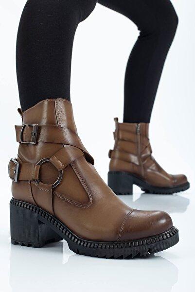 Seyyah Ayakkabı Oscar Kemer Detaylı Taba Kadın Bot
