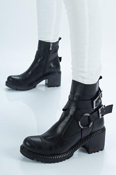 Seyyah Ayakkabı Kadın Oscar Kemer Detaylı Siyah Bot