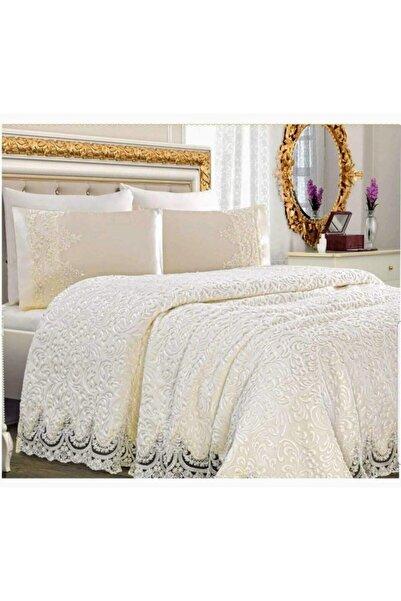 Kelebek Steel Home Collection Fransız Güpürlü Battaniye Yatak Örtüsü Seti Krem