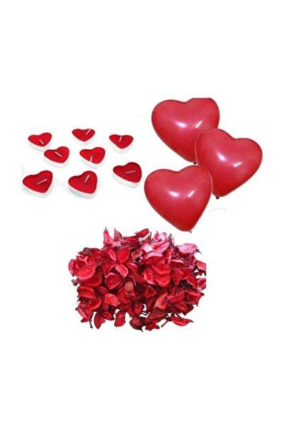 Furkan Evlilik Teklifi Paketi 1000 Gül Yaprağı 10 Kalp Balon 10 Kalp Mum