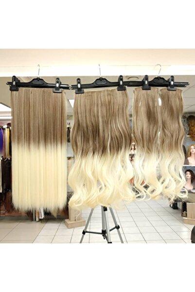 My Hair Türkiye Yarımay Çıtçıt Saç 4 Lü Set Fiber Sentetik Açık Karamel Platin Ombre Renk Kodu-10-613