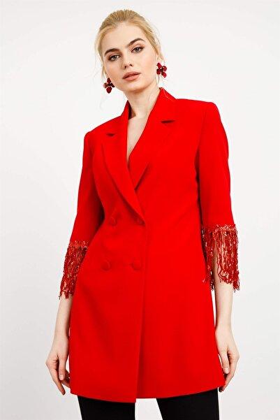Moda İlgi Kadın Kırmızı Kol Püsküllü Kruvaze Ceket