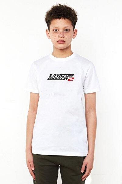 QIVI Unisex Çocuk Beyaz Ufc Ultimate Fighting Championship Baskılı Tshirt