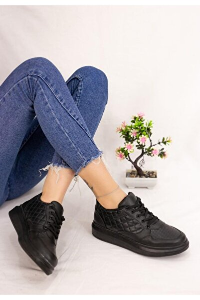 ESPARDİLE Lari Siyah Cilt Bağcıklı Spor Ayakkabı
