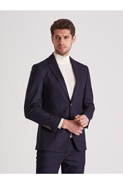 Dufy Lacivert Yün Karışımlı Fitilli Dokuma Erkek Ceket - Regular Fıt