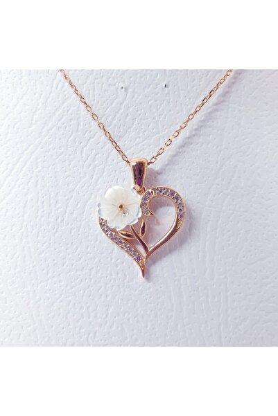 MAGRİB Kalpli Manolya Çiçeği Model Gümüş Kolye