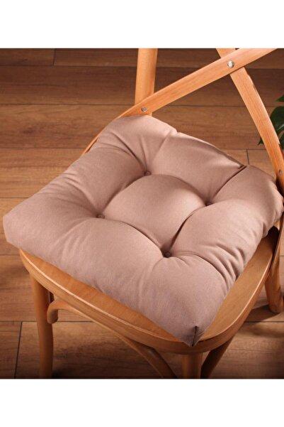 ALTINPAMUK Lüx Pofidik Kahve Sandalye Minderi Özel Dikişli Bağcıklı 40x40cm