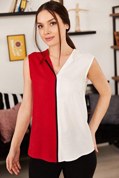 armonika Kadın Beyaz Bloklu Önü Biyeli Kolsuz Bluz ARM-21K001185