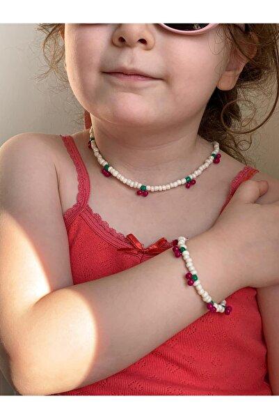 İsabella Accessories Kız Çocuk Kolyesi Bileklik Set Kiraz Desenli Renkli 30 Cm