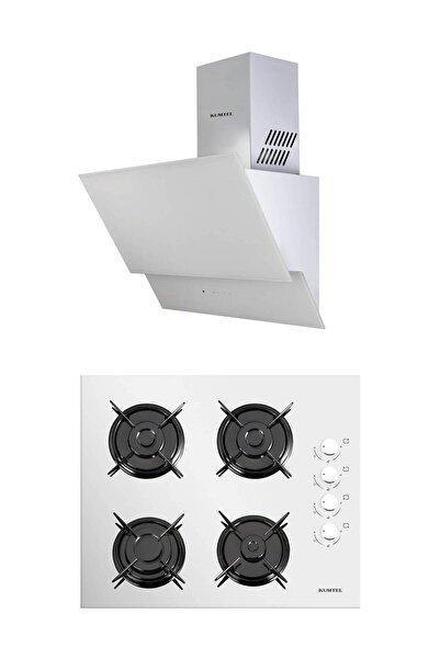 KUMTEL Beyaz 2'li Ankastre Cam Set (Ocak-Dokunmatik Davlumbaz)