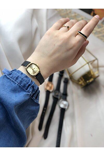 Ess Takı & Saat Retro Minimal Deri Kordon Kadın Kol Saati - Gold