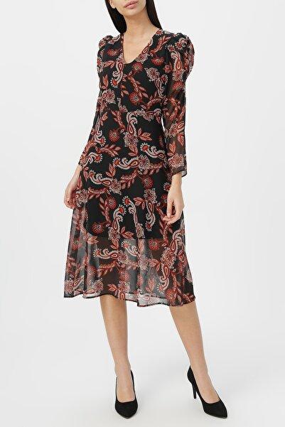 RANDOM Kadın Kol Detaylı Midi Boy Desenli Şifon Elbise %100 Polyester