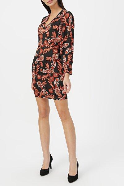 RANDOM Kadın Kruvaze Yaka Desenli Elbise %60 Vıscon %40 Polyester