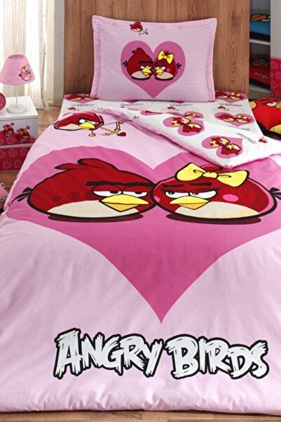 Angry Birds Tek Kişilik Nevresim Pembe Çocuk Takımı Ab-02