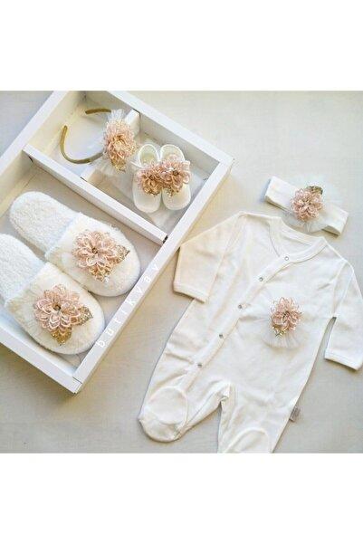 Dandini Kız Bebek Tulumlu Lohusa Terlik Taç 5'li Seti