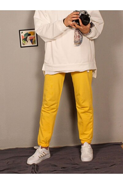 Hepsi Moda Iki Iplik Paça Lastlikli Eşofman - Sarı